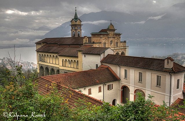 The holy sanctuary of Madonna del Sasso in Orselina, Locarno Switzerland