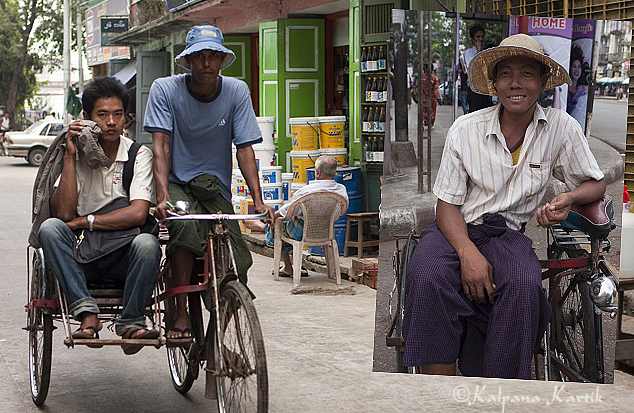 Rickshaws in Yangon Myanmar