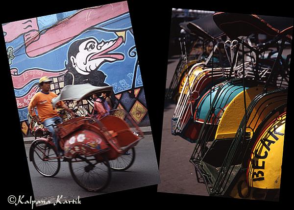 Rickshaws in Yogyakarta Indonesia