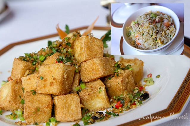 Spicy tofu served with fried rice