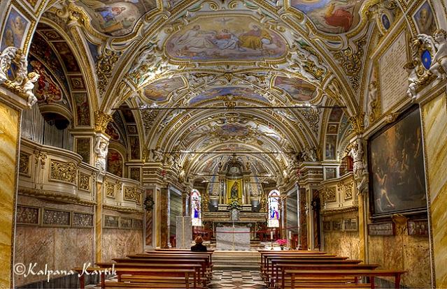 Interior of Madonna del sasso church in Orselina Locarno
