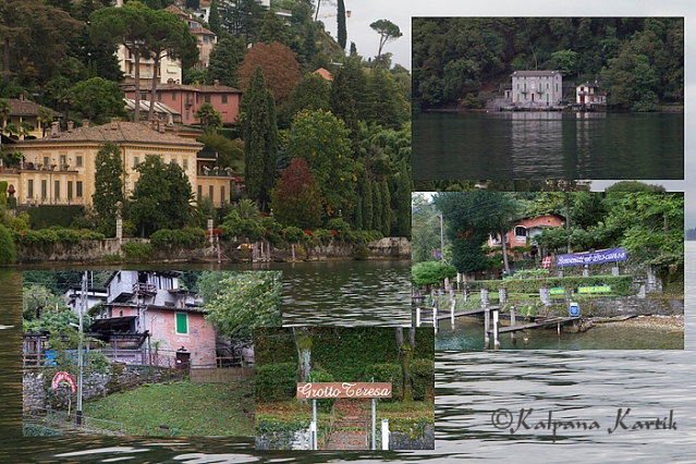 Views of lake Lugano and the traditional grottos along the lake