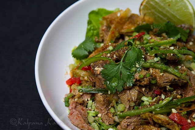 Spicy meat salad at Malaysia food week served at Le Bauhinia Shangri-La Paris