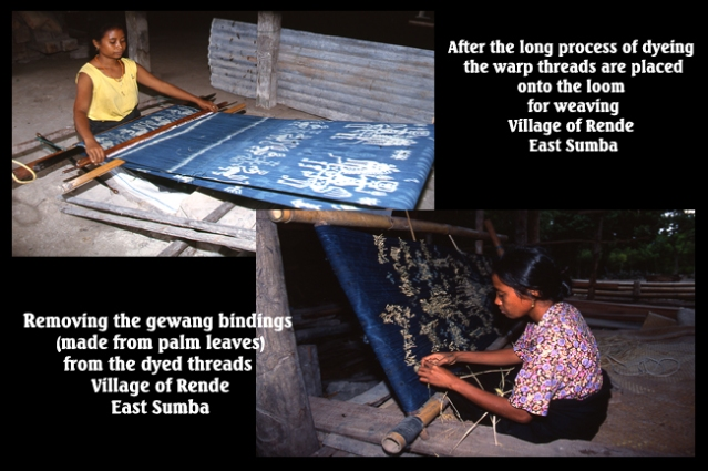 Sumbanese women weaving the traditional Ikat cloth