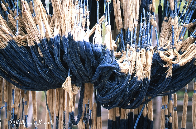 Yarns being dried in the sun