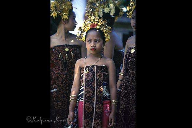 Geringsing cloth worn during a ritual Rejang dance in Tenganan, Bali
