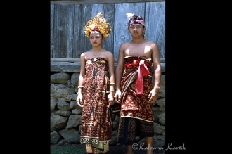 Young couple wearing the geringsing cloth during the rites of passage ceremony