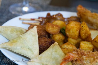 Vegetable samosas and fritters