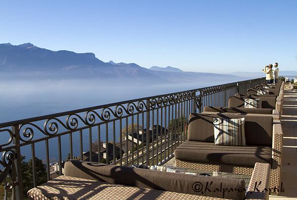 Th lovely terrace at Le Mirador Hotel along Lake Geneva
