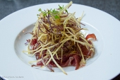 Egg lover's nest with vermicelli style fried potatoes