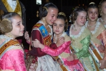 Sofia Soler Fallera Infantil and her maids of honour in an emotional attitude