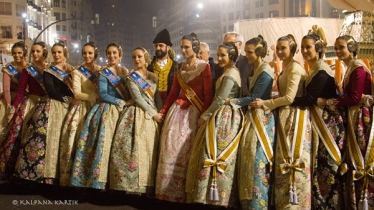 Alicia Moreno Fallera Mayor of Valencia with her maids of honour posing in front of the effigies at the Town Hall