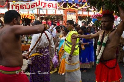 Flagellant during Ganesha procession