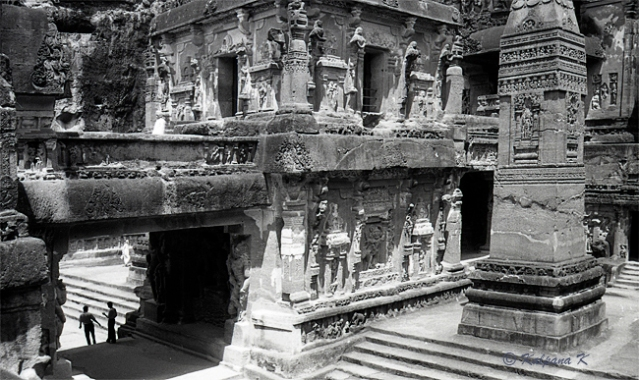 Fabulous sculptures decorating the rock cut temple monastery of Ellora caves in the Maharasthra India