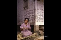 Making rattan baskets at the Baduy village West Java