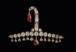 Sarpech or turban decoration set in gold, diamonds and spinel rubies. North India The Al Thani collection