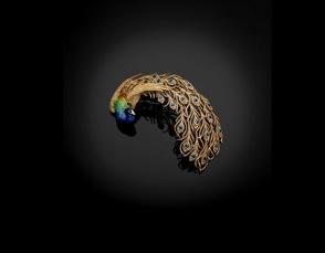 The peacock brooch 1905 Gold, platinum, diamond