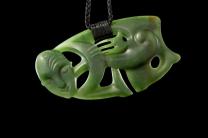 Hei Tiki pounamu nephrite pendant work of Lewis Gardiner from Ngai Tau